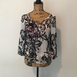 WHBM patterned silky blouse size XS